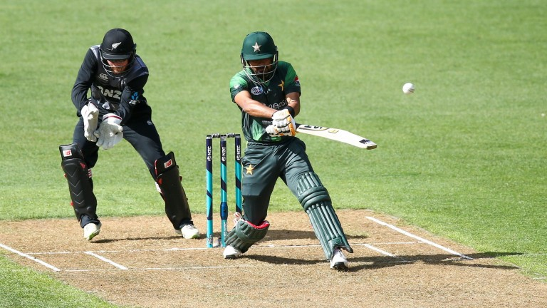 Babar Azam bats for Pakistan against New Zealand