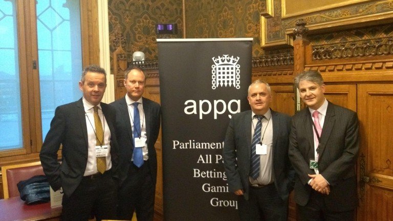 From left to right, Racing Post editor Bruce Millington, Richard Flint (Sky Bet), Simon Rowlands (HBF) and Philip Davies MP