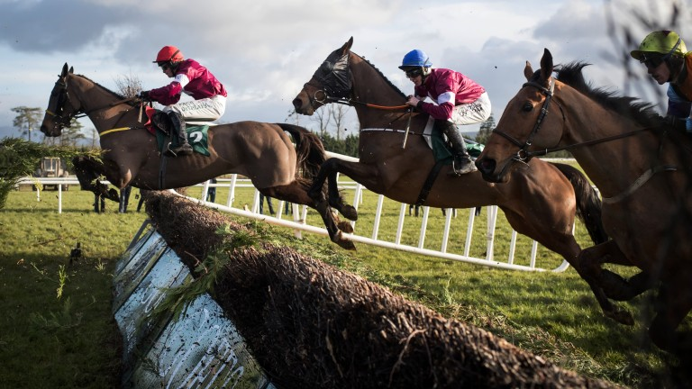Air shot: Monbeg Notorious (blue cap) en route to winning the Thyestes Chase at Gowran Park under Jack Kennedy