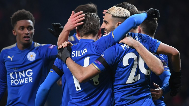 Leicester celebrate after a Riyad Mahrez goal