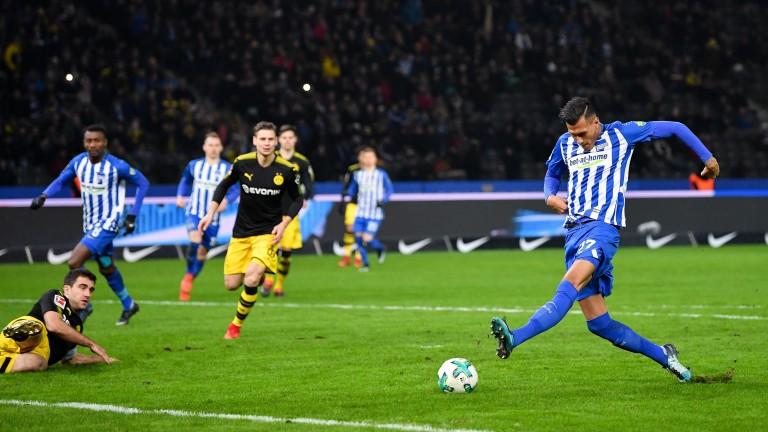 Davie Selke of Hertha Berlin scores against Borussia Dortmund