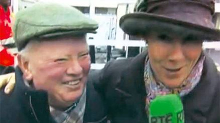 Peter Casey gives his memorable interview to Tracy Piggott and RTE following Flemenstar's victory at Leopardstown
