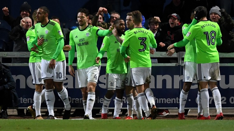 Cardiff celebrate their 4-1 win in the FA Cup third-round replay at Mansfield