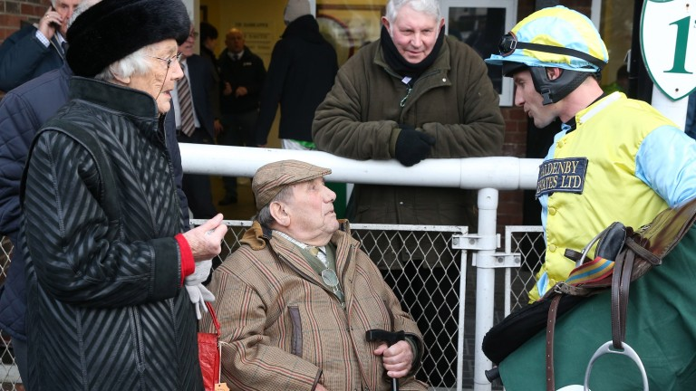 Ray Scholey with his wife Margaret talking to Danny Cook after Straidnahanna won the North Yorkshire Grand National at Catterick last year