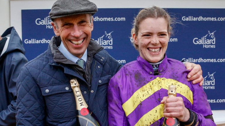 Trainer Nick Williams and jockey Lizzie Kelly after Agrapart's victory