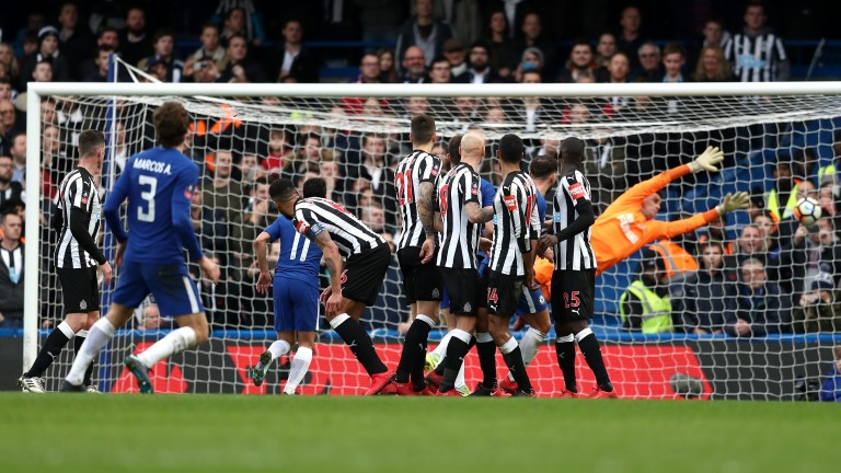 Marcos Alonso's free kick sealed a comfortable 3-0 win for Chelsea against Newcastle