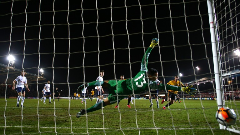 Padraig Amond scores for Newport during their FA Cup clash with Tottenham on Saturday