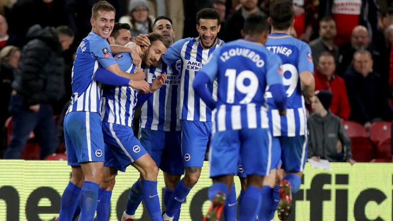 Brighton celebrate Glenn Murray's late winner at Boro in the cup
