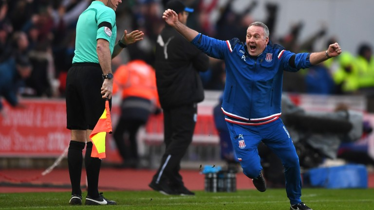 Paul Lambert enjoys a Stoke goal against Huddersfield