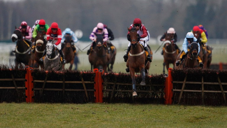 Violet Dancer (Josh Moore) jumps the last en route to winning the Betfair Hurdle in 2015 for Gary Moore, who has landed the big handicap three times in the last ten runnings