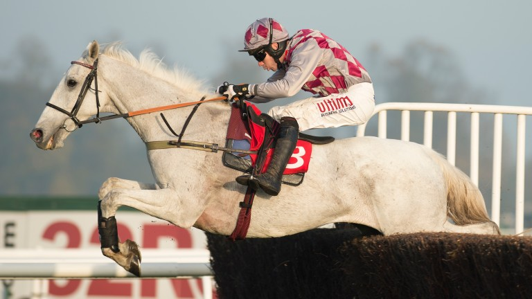 Smad Place and Wayne Hutchinson jump the final fence to score at Kempton
