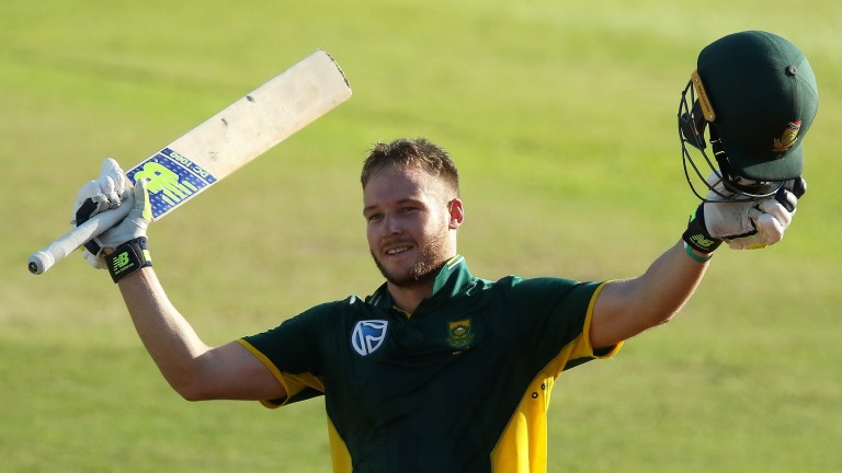 South Africa's David Miller celebrates his century against Sri Lanka at Durban