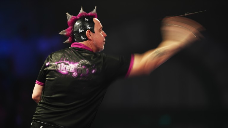 Peter Wright in action at the World Championship