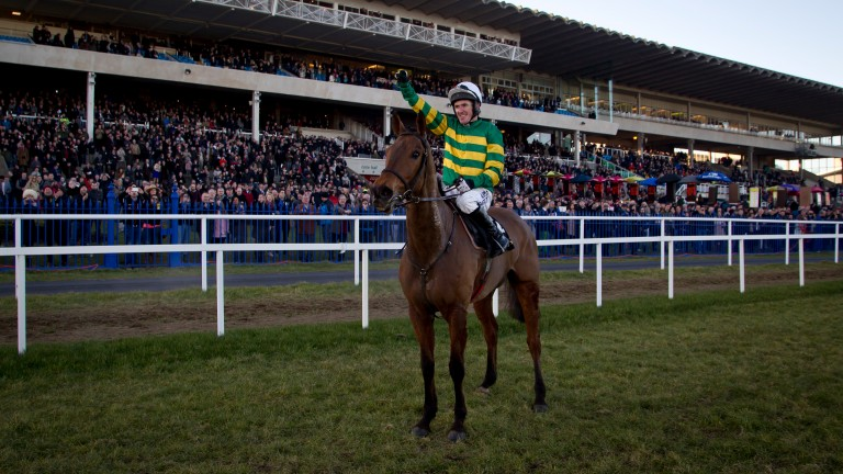 McCoy salutes the crowd after winning the Irish Gold Cup at Leopardstown on Carlingford Lough
