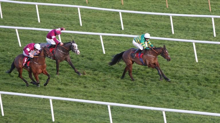 Espoir D'Allen (leading): takes his chance against Farclas (grey) at Limerick