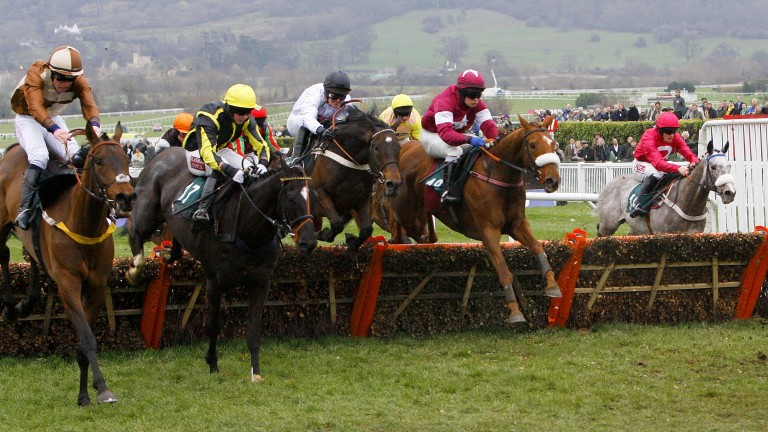 Attaglance (left) en route to victory in the Martin Pipe Conditional Handicap Hurdle