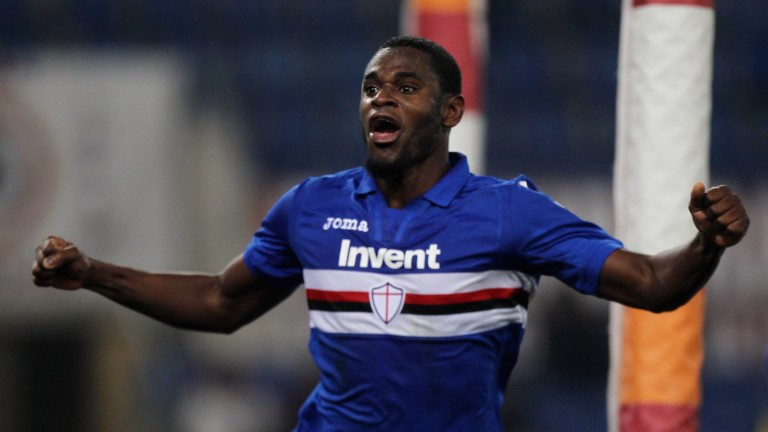 Duvan Zapata celebrates after scoring for Sampdoria