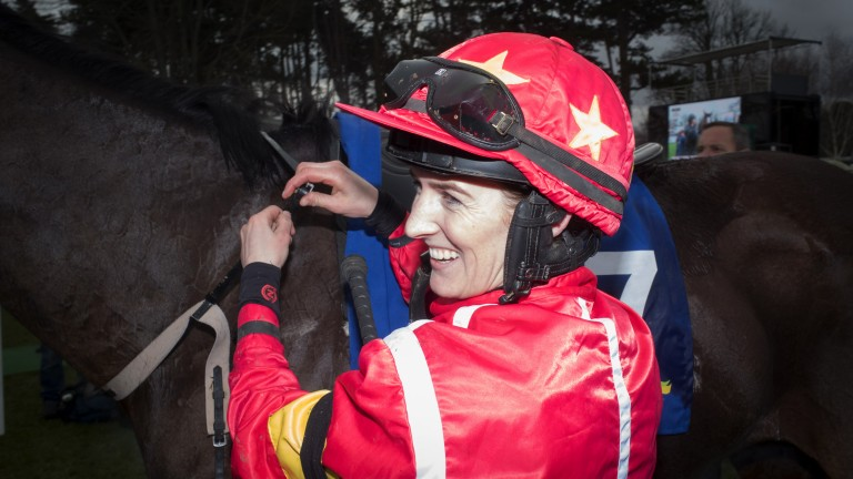 In the Black: Rachael Blackmore is all smiles following her victory on Patricks Park on the Sandyford Chase