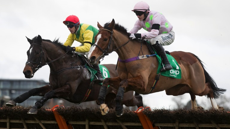 The duel is on: Faugheen (right) and Supasundae fight it out from the front in the Irish Champion Hurdle
