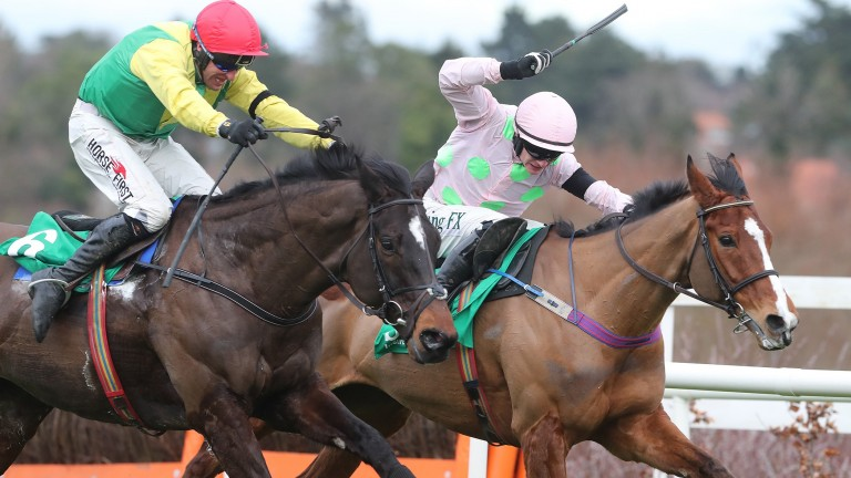 Supasundae (Robbie Power, left) beats Faugheen in the Irish Champion Hurdle on Saturday