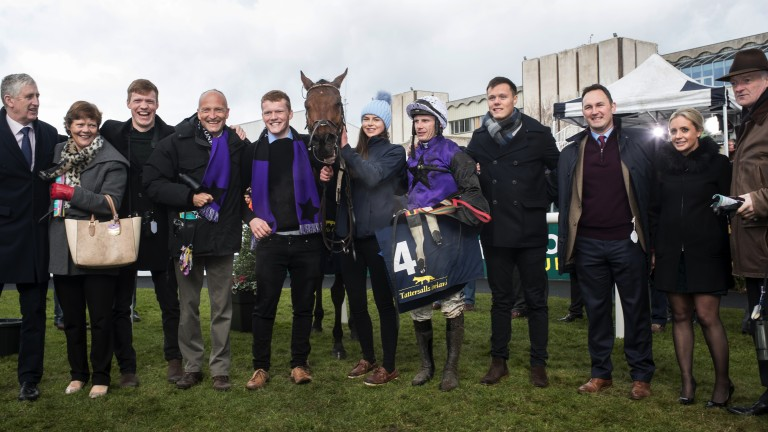 All smiles: connections of Mr Adjudicator celebrate victory in the Grade 1 Tattersalls Ireland Spring Juvenile Hurdle