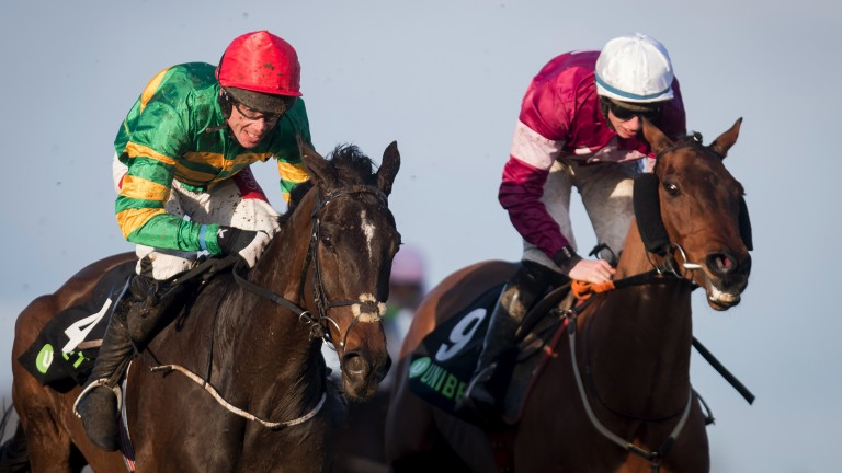 Pulsating finish: Joseph O'Brien's Edwulf (left), the mount of Derek O'Connor, gets the better of Outlander in the Grade 1 Unibet Irish Gold Cup