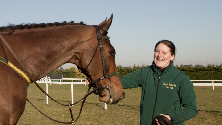 Emma Connolly celebrates Apache Stronghold's win in the Grade 1 Flogas Novice Chase