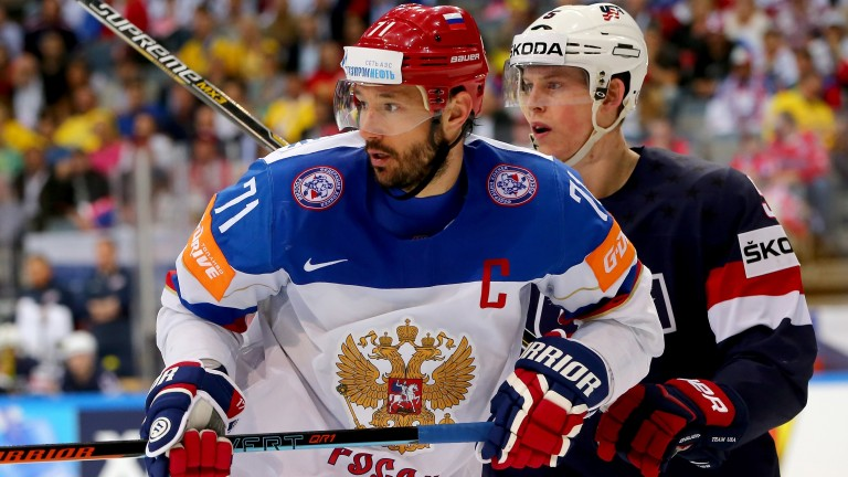 Ilya Kovalchuk of Russia in action at the World Championship