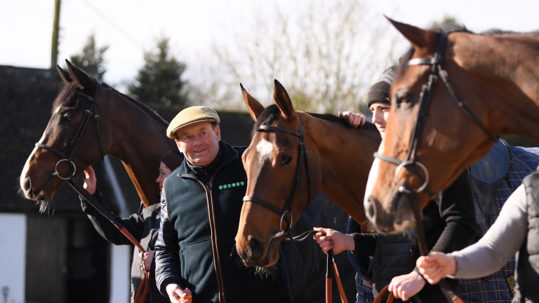 Nicky Henderson poses with Jenkins, Verdana Blue and Lough Derg Spirit at his yard