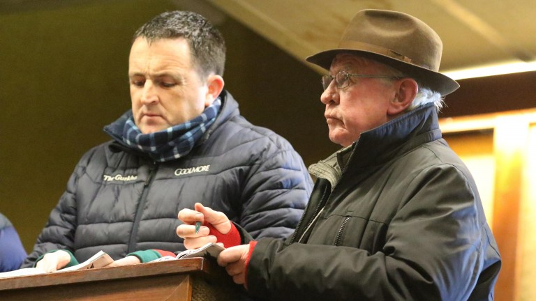 Tim Hyde snr (right) and Coolmore's Gerry Aherne in the thick of the action at Goffs yesterday