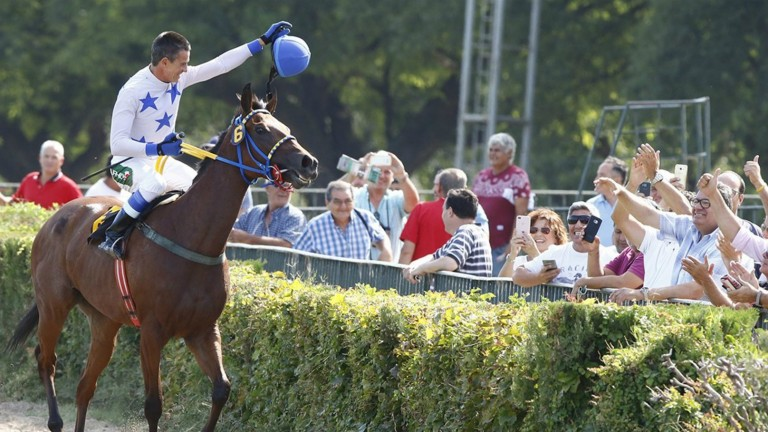 Crowd pleaser: Jorge Ricardo salutes racegoers at San Isidro after breaking the world record for career victories on Hope Glory on Wednesday's card at the Buenos Aires venue