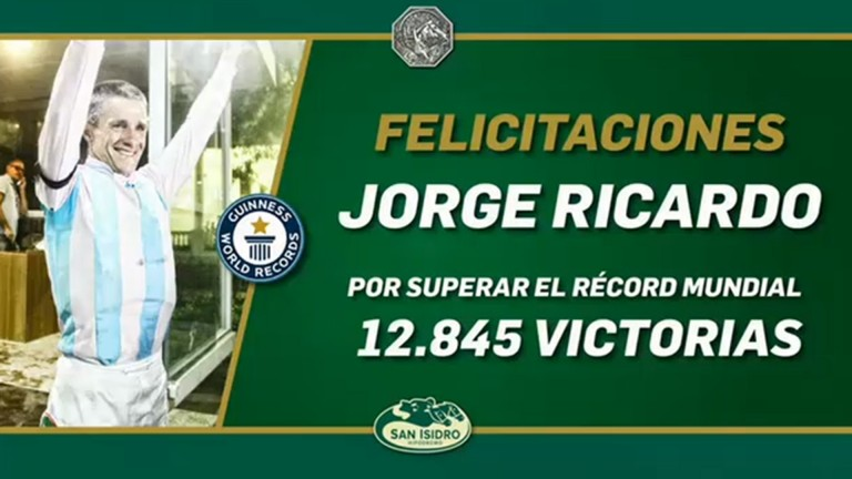 ...and that's the world record! With the 12,845th winner of a remarkable career, Brazilian legend Jorge Ricardo surpassed Russell Baze's career mark at San Isidro on Wednesday