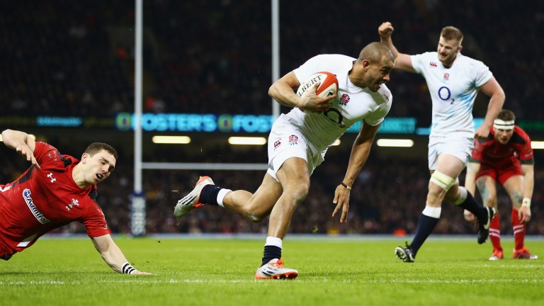 Jonathan Joseph of England scores a try against Wales in the 2015 Six Nations