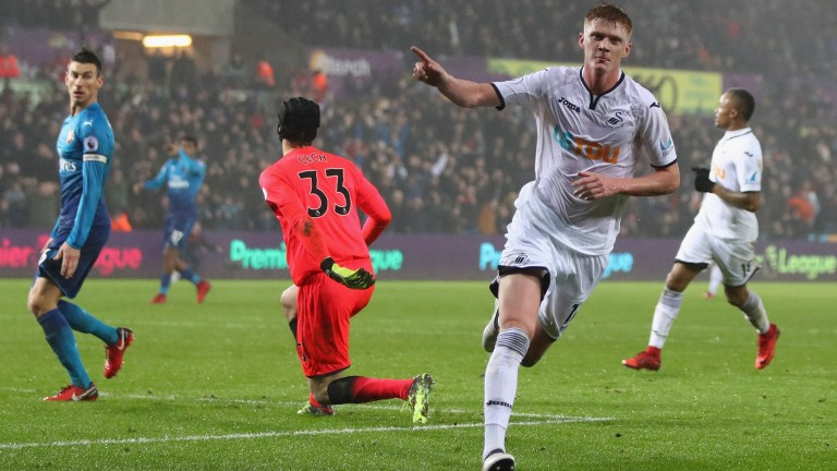 Swansea's Sam Clucas notched twice in the win over Arsenal