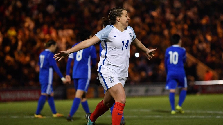 Chelsea's Fran Kirby celebrates a World Cup qualifier goal fro England