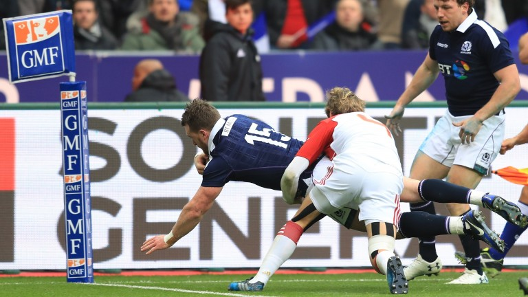Scotland's Stuart Hogg scores the first try in last year's Six Nations clash against France