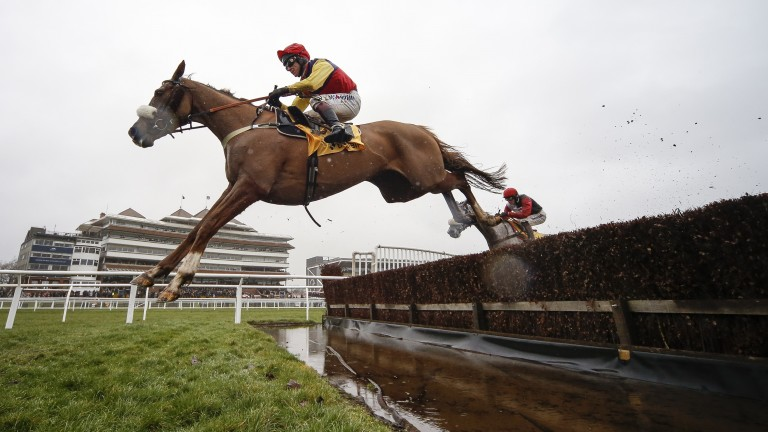 Native River and Richard Johnson on their way to victory in the Denman Chase