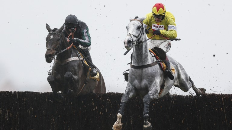 Politologue (right) jumping against Altior on Saturday