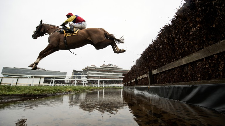 Back with a bang: Colin Tizzard's Native River makes all on his return to action in the Grade 2 Betfair Denman Chase under Richard Johnson