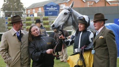 Ascot 20/02/10.Betfair Ascot Chase.Winner Monet's Garden - Barry Geraghty with Nicky Richards and owner David Wesley Yates.