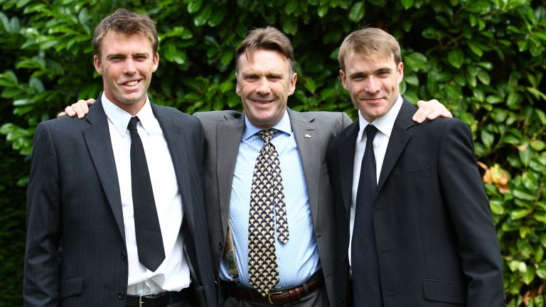 Peter Scudamore (centre) with his sons Michael and Tom