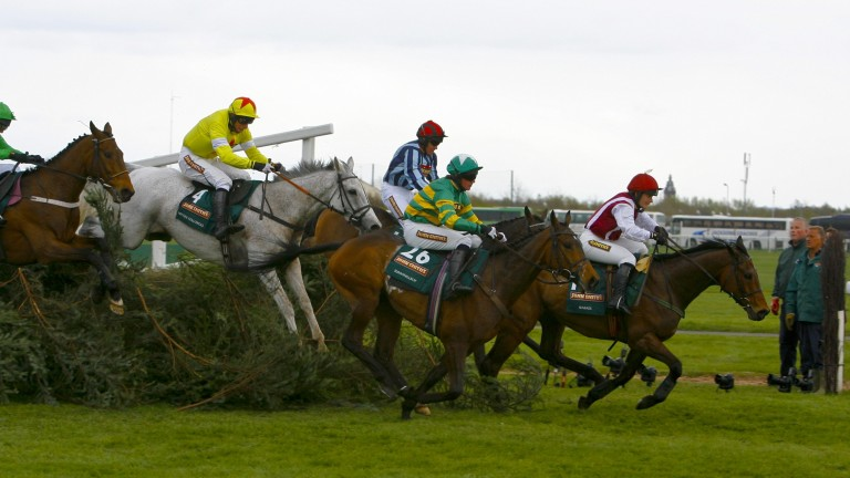 Katie Walsh and Seabass lead over the last before finishing third in the National in 2012