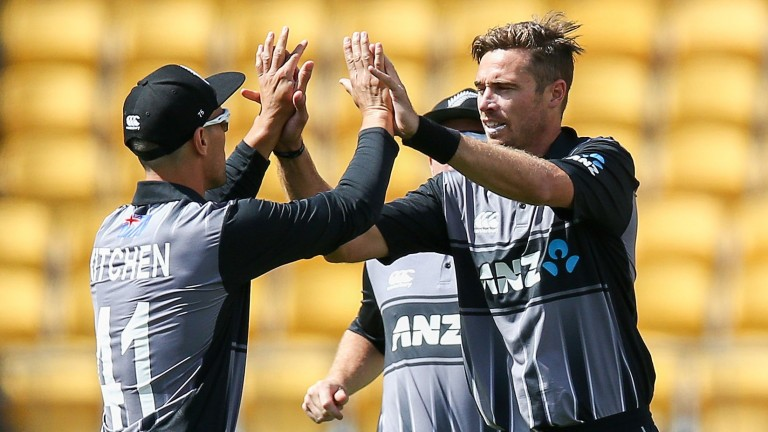 Tim Southee celebrates one of his three wickets in the win over Pakistan in Wellington