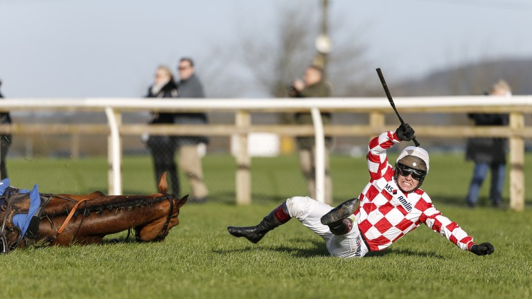 Richard Johnson and Springtown Lake fall at the last at Wincanton