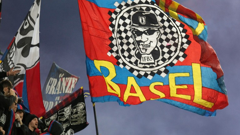 Fans of Basel wave flags