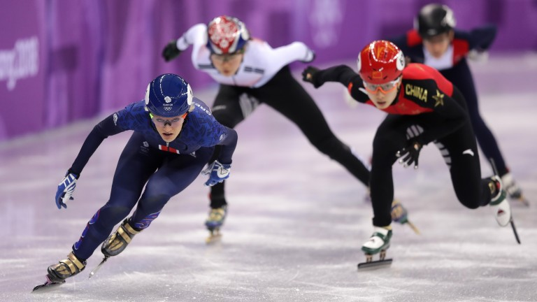 Elise Christie beat the Olympic 500m record in her heat on Sunday