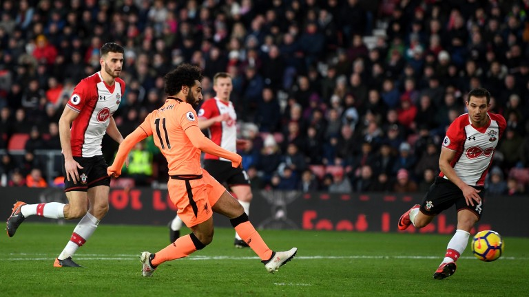 Mohamed Salah scores for Liverpool at Southampton
