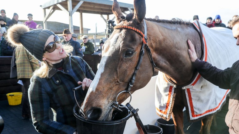 Trainer Ruth Jefferson with Morebattle Hurdle winner Cyrus Darius at Kelso on Thursday