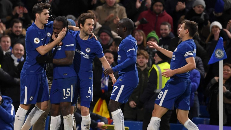 Chelsea celebrate Victor Moses's goal against West Brom