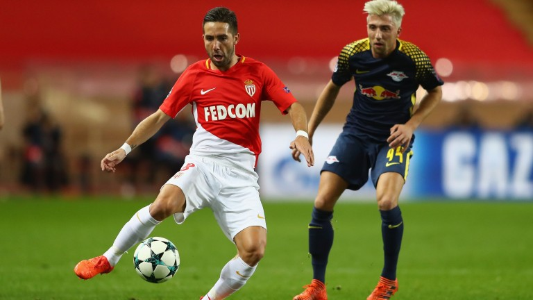 Joao Moutinho makes a pass for Monaco at Angers